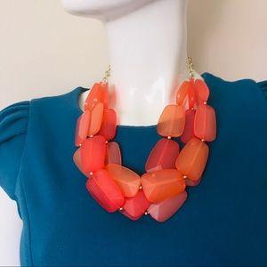 Bulky necklace flat beads multi strand